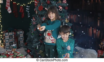 Kids Having Fun with Christmas Petards