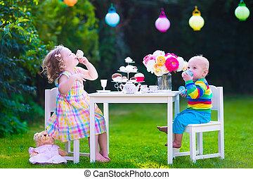 Kids having party in the garden