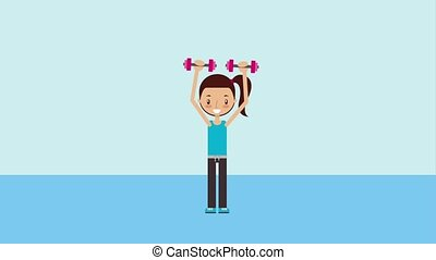 kids healthy lifestyle - young girl doing fitness lifting ...