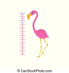 Kids height chart and flamingo. Exotic bird with pink feathers, yellow beak and long thin legs. Wall decor for children room. Flat vector