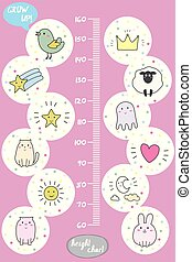 Kids height chart. Cute and funny animals, doodle vector illustration