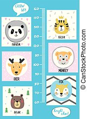 Kids height chart. Cute and funny animals, cartoon vector illustration