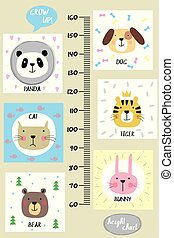 Kids height chart. Cute and funny animals, vector illustration