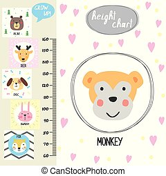 Kids height chart. Cute monkey and funny animals, vector illustration