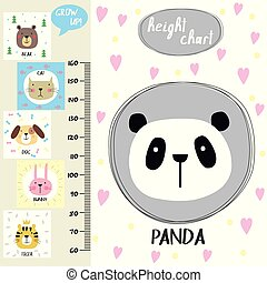 Kids height chart. Cute panda and funny animals, vector illustration