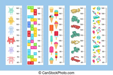 Kids height chart. flat style. isolated on white background