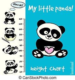Kids height chart. Hand drawn panda, funny vector illustration