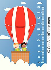Kids height chart, Smiling children fly in a hot air balloon, cartoon vector illustration.