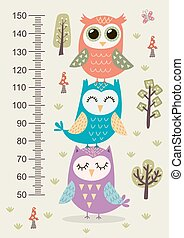 Kids height meter with cute owls