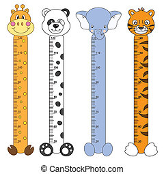 Kids Height Scales. Wildlife Stickers