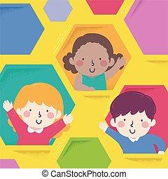 Kids Hexagon Windows Illustration