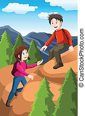 Kids hiking - A vector illustration of kids hiking in the...