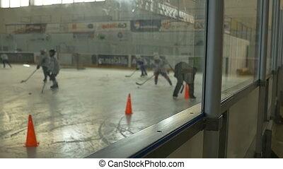 Kids Hockey Training Day - Slow motion shot (96fps) of kids...
