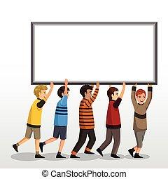 Kids Holding a Blank Board