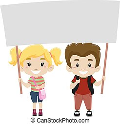 Kids Holding a Blank Signage