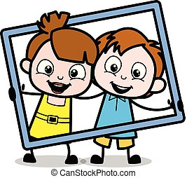 Kids Holding a Frame - School Boy Cartoon Character Vector Illustration