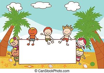 kids holding banner at beach when summer