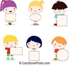 kids holding card