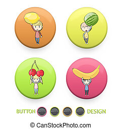 Kids holding colorful fruits printed on button. Vector design