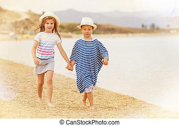 Kids Holding Hands Beach