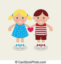 Kids holding heart.