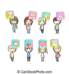 Kids holding lot of icons. Vector design.