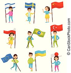 Kids holding national flags of different countries, design elements for Independence Day, Flag Day vector Illustrations on a white background