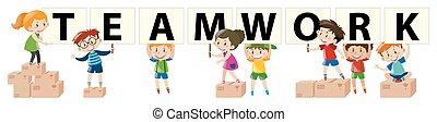 Kids holding sign for teamwork