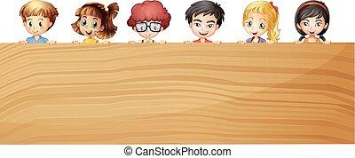 Kids holding wooden plywood illustration