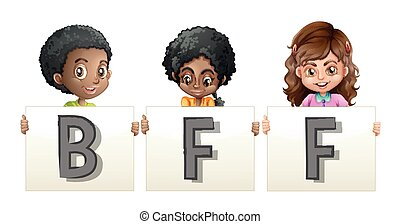 Kids holding word for BFF