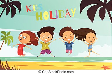 Kids holiday flat vector illustration in cartoon design with happy friends company jumping on tropical landscape background retro cartoon