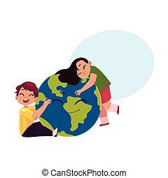 Kids hugging smiling Globe, Earth planet character