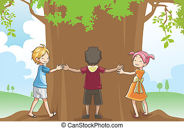 Kids hugging tree
