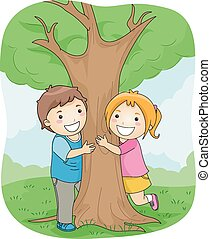 Illustration of a Boy and a Girl Hugging a Large Tree