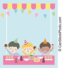 Kids Ice Cream Party Background Illustration