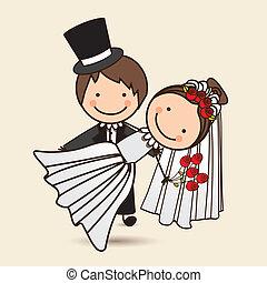 kids icons - Illustration of wedding couple with wedding...