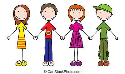 Kids - Illustration of four kids holding hands