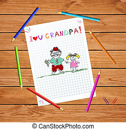 kids illustration with grandpa and granddughter together.