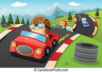 Kids in a car racing - A vector illustration of happy kids...