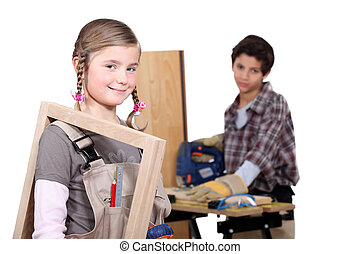 kids in a craftsman workshop