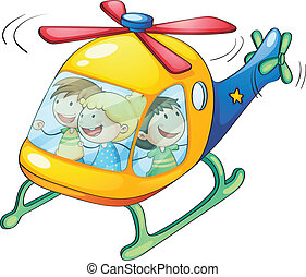 kids in a helicopter - illustration of a kids in a...