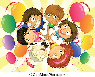 Kids in a party - Illustration of the kids in a party on a...