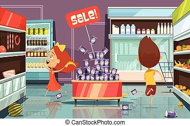 Kids In A Shop Illustration