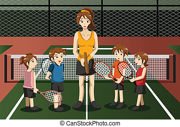 Kids in a tennis club with the instructor