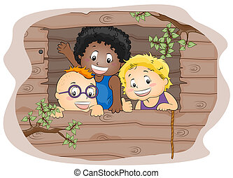 Kids in a Tree house - Illustration Featuring Kids in a Tree...