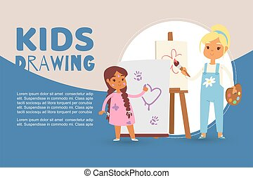 Kids in art class drawing pictures vector illustration. Cartoon caucasian girls drawing with paint brushes, colors and crayons and easel. Children painting web banner.
