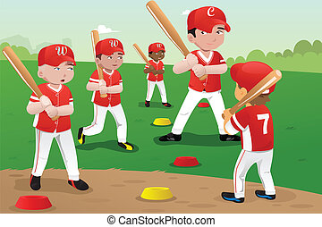 Kids in baseball practice - A vector illustration of kids...