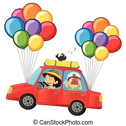 Kids in car with colorful balloons attached