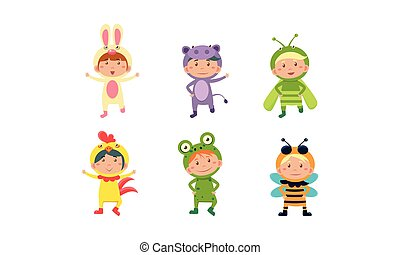 Kids in carnival costumes set, cute little boys and girls wearing insects and animals clothes vector Illustration on a white background