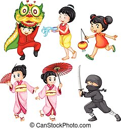 Kids in costume from different countries